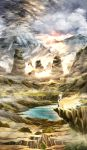 1girl arkatopia cliff clouds commentary fox_tail lake landscape looking_afar mountain multiple_tails scenery sky solo sunlight tabard tail touhou tree yakumo_ran