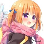 1girl :d blue_ribbon blush brown_hoodie commentary_request drawstring fringe_trim hair_ribbon hanamiya_natsuka hood hood_down hoodie looking_away open_mouth orange_hair original pink_scarf ribbon scarf simple_background smile solo two_side_up upper_body violet_eyes white_background