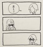 2others 3koma androgynous black_border border comic faceless highres houseki_no_kuni long_bangs marker_(medium) multiple_others phosphophyllite scan shinsha_(houseki_no_kuni) sunglasses traditional_media