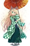 1girl :d ahoge animal_ear_fluff animal_ears aqua_eyes arm_up bangs blonde_hair blush checkered commentary_request eyebrows_visible_through_hair fingernails fox_ears fox_girl fox_tail green_hakama green_kimono grey_footwear hair_between_eyes hakama hand_up holding holding_umbrella japanese_clothes kimono leaf_print long_hair long_sleeves off_shoulder open_mouth oriental_umbrella original print_hakama print_kimono red_umbrella smile socks solo tabi tail tsuyukina_fuzuki umbrella very_long_hair white_background white_legwear wide_sleeves yagasuri zouri