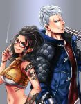 1boy 1girl arm_tattoo back-to-back black_hair black_nails blue_eyes blue_jacket breasts cigarette commentary_request crop_top devil_may_cry devil_may_cry_5 finger_tattoo freckles grey_background gun handgun height_difference holding holding_gun holding_weapon jacket jewelry lips long_hair mechanical_arm medium_breasts midriff multicolored_hair nagare nail_polish navel nero_(devil_may_cry) nico_(devil_may_cry) nose pendant red-framed_eyewear shoulder_tattoo silver_hair smoking streaked_hair tattoo weapon
