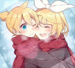 1boy 1girl asagao_minoru bangs blonde_hair blush bow breath character_name cheek-to-cheek closed_eyes commentary hair_between_eyes hair_bow hair_ornament hairclip heart kagamine_len kagamine_rin medium_hair one_eye_closed ponytail red_scarf scarf shared_scarf smile snowflakes upper_body visible_air vocaloid
