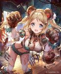 1girl 77gl :d animal_ears bag bangs bear_ears bear_paws belt bent_over blonde_hair blue_eyes blue_shorts blush breasts brush candle candlestand cleavage crop_top curtains detached_sleeves fangs faulds floating_hair fur_collar hair_intakes hands_up indoors long_hair looking_at_viewer matchbox matchstick medium_breasts midriff navel official_art open_mouth rope shingeki_no_bahamut short_shorts shorts sidelocks skull smile solo standing suspenders thigh-highs torn_clothes torn_legwear twintails v-shaped_eyebrows watermark white_legwear window