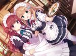 2girls :d apron blue_eyes brown_hair commentary_request curtsey dress dutch_angle food hair_ornament holding holding_tray indoors juliet_sleeves kimishima_ao long_dress long_hair long_sleeves looking_at_viewer maid maid_apron maid_headdress multiple_girls neck_ribbon open_mouth original puffy_sleeves redhead ribbon sandwich short_sleeves smile thigh-highs tray violet_eyes white_legwear
