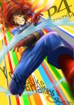 attack brown_hair cosplay gloves hanamura_yousuke male persona persona_4 segami_daisuke solo susano_(persona) susano_(persona)_(cosplay) wink
