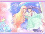 1girl ask ask_(densicho) choker colorful couple dress macross macross_frontier multicolored_hair ponytail purple_hair rainbow saotome_alto sheryl_nome star stars