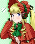 1girl blonde_hair blue_eyes blush bonnet bow capelet drill_hair floral_print flower green_background hair_ribbon headphones ichikawa_masahiro long_hair long_sleeves polka_dot polka_dot_background ribbon rose rozen_maiden shinku solo twin_drills twintails