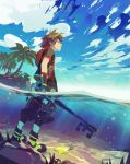 1boy air_bubble beach belt blue_sky brown_hair bubble closed_eyes clouds fingerless_gloves gloves hood hood_down hoodie island jacket keyblade kingdom_hearts kingdom_hearts_iii nature ocean palm_tree paopu_fruit partially_submerged plant sand seaweed shoes sky sneakers solo sora_(kingdom_hearts) spiky_hair standing toni_infante tree underwater unzipped water weapon wet