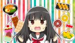 1girl bangs black_hair black_sailor_collar brown_eyes candy_wrapper cherry chijou_noko chikanoko chocolate_bar commentary_request cupcake doughnut eyebrows_visible_through_hair food fruit hands_up highres long_hair long_sleeves noodles open_mouth ragho_no_erika ramen red_neckwear sailor_collar shirt shrimp shrimp_tempura solo striped striped_background sweat teardrop tempura upper_body v-shaped_eyebrows vertical-striped_background vertical_stripes wavy_mouth white_shirt
