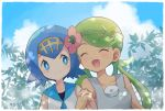 2girls blue_eyes blue_hair blush creatures_(company) eyes-closed flower game_freak green_hair hair_flower hair_ornament mao_(pokemon) mei_(maysroom) multiple_girls nintendo pokemon pokemon_(anime) pokemon_sm_(anime) suiren_(pokemon)