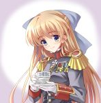 1girl blonde_hair blue_eyes bow cup epaulettes formal gloves hair_bow high_collar highres holding long_hair longmei_er_de_tuzi looking_at_viewer medal military military_uniform original simple_background solo teacup uniform upper_body white_gloves