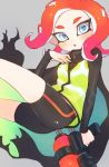 1girl :o ass bike_shorts black_cape breasts cape fang green_vest grey_background grey_eyes hand_up highres holding jtveemo long_hair long_sleeves looking_at_viewer octarian octoling octoshot_(splatoon) open_mouth redhead small_breasts solo splatoon splatoon_(series) splatoon_2 splatoon_2:_octo_expansion squidbeak_splatoon suction_cups tentacle_hair torn_cape torn_clothes vest