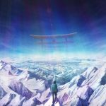 1girl backpack bag blue blue_hair blue_pants commentary_request day from_behind highres hood hood_down hooded_jacket jacket lake mountain mountainous_horizon original pants reflecting_pool scenery sky snow solo spirits729 standing star_(sky) starry_sky torii