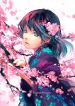 1girl black_hair blue_eyes blurry cherry_blossoms close-up closed_mouth commentary english_commentary face floral_print highres japanese_clothes kimono long_hair looking_at_viewer original profile simple_background solo watermark web_address wenqing_yan wind