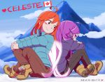 ahoge artist_name badeline blue_coat blush_stickers boots brown_eyes brown_pants canadian_flag celeste_(video_game) closed_mouth clouds commentary copyright_name dated del glowing glowing_hair highres japanese_flag legs_crossed long_hair looking_back madeline_(celeste) mountain number orange_hair outdoors own_hands_together pants profile purple_coat purple_hair red_sclera sitting sky smile very_long_hair