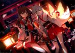 2girls animal_ears brown_hair dutch_angle floating_hair fox_ears fox_mask fox_tail green_eyes hair_between_eyes hakama hakama_skirt highres holding holding_mask holding_staff japanese_clothes kimono long_hair long_sleeves looking_at_viewer luo_tianyi mask multiple_girls multiple_tails outdoors red_eyes red_hakama ribbon-trimmed_sleeves ribbon_trim silver_hair sky staff standing star_(sky) starry_sky tail thigh_strap torii very_long_hair vocaloid vocanese white_kimono white_legwear wide_sleeves yu_jiu yuezheng_ling