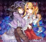 2girls :o argyle argyle_background argyle_legwear arm_up axe azuma586 black_hair blonde_hair blue_flower blue_rose bow braided_ponytail brooch commentary_request covering_mouth dress eyebrows_visible_through_hair eyes_visible_through_hair feet_out_of_frame flower frilled_shirt frilled_sleeves frills hair_between_eyes hair_bow hair_ribbon hairband hand_on_own_face holding holding_axe jewelry juliet_sleeves layered_dress leaning_on_person light_particles lolita_hairband long_hair long_sleeves looking_at_viewer multiple_girls original outstretched_arm pantyhose pinafore_dress puffy_sleeves purple_dress purple_ribbon red_bow red_dress red_eyes ribbon rose ruby_(gemstone) shirt side_ponytail sitting sparkle white_shirt yellow_eyes