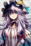 1girl alternate_eye_color bags_under_eyes bangs blue_eyes blue_ribbon breasts capelet colored_eyelashes commentary_request dress eyebrows_visible_through_hair grey_background hair_between_eyes hair_ribbon hat hat_ribbon highres large_breasts long_hair long_sleeves looking_at_viewer maho_moco messy_hair mob_cap patchouli_knowledge purple_dress purple_hair red_ribbon ribbon sidelocks simple_background solo striped touhou upper_body vertical-striped_dress vertical_stripes very_long_hair white_hat wide_sleeves
