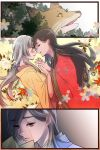 2girls blue_kimono blush brown_eyes brown_hair closed_eyes crying crying_with_eyes_open ears flower flower_(symbol) fox from_side fuji_cak gradient gradient_background grey_hair holding_letter interlocked_fingers japanese_clothes kimono layered_clothing layered_kimono letter light lips long_hair multiple_girls nose open_eyes panels pink_lips red_kimono sad streaming_tears tamamizu_monogatari tears tied_hair yellow_background yellow_eyes yellow_kimono yuri