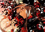 1boy black_hair black_hat cape closed_mouth dated eyebrows_visible_through_hair family_crest fate/grand_order fate_(series) flower from_side hat highres holding holding_flower long_hair long_sleeves military military_hat military_uniform monochrome oda_nobukatsu_(fate/grand_order) peaked_cap ponytail profile red_eyes rioka_(southern_blue_sky) solo twitter_username uniform