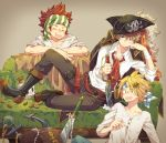 3boys :o anchor bakugou_katsuki bandanna black_footwear black_hat blonde_hair blue_bandana blush boku_no_hero_academia boots brown_background brown_pants closed_eyes coin couch crown facing_another green_bandana hand_on_own_cheek hat jacket_on_shoulders jewelry kaminari_denki kirishima_eijirou knife looking_at_viewer male_focus multiple_boys necklace pants pearl_necklace pirate_hat planted_weapon red_bandana red_neckwear redhead shirt sitting skull spiky_hair sweatdrop thigh_strap treasure_chest tricorne uppi weapon white_shirt