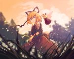 1girl blonde_hair blouse blue_eyes clouds dress eyebrows_visible_through_hair fairy_wings field flower flower_field from_below furahata_gen glint grass hair_between_eyes hair_ribbon highres holding holding_flower light_particles lily_of_the_valley long_hair looking_at_viewer medicine_melancholy orange_sky outdoors parted_lips red_blouse red_dress red_skirt ribbon short_hair skirt sky sleeves_past_elbows smile standing su-san tears touhou twilight wind wings