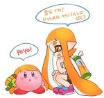 1girl :d bike_shorts copy_ability domino_mask fang full_body hand_on_own_knee ink_tank_(splatoon) inkling jtveemo kirby kirby_(series) long_hair looking_at_another mask nintendo open_mouth orange_eyes orange_hair pink_footwear pointy_ears shirt shoelaces shoes short_sleeves sideways_mouth simple_background smile sneakers speech_bubble splatoon splatoon_(series) splatoon_1 splattershot_(splatoon) squatting super_smash_bros. super_smash_bros._ultimate t-shirt tentacle_hair white_background white_shirt
