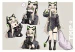 1girl :d ;o alma01 animal_ears bangs black_gloves black_jacket black_legwear bow breasts cat_ear_headphones cat_ears cat_girl cat_paws cat_tail character_name commentary_request eyebrows_visible_through_hair fake_animal_ears fang girls_frontline gloves green_bow green_eyes grey_background hair_between_eyes half_gloves headphones heart highres holding holding_knife holding_pillow jacket kneehighs knife light_brown_hair long_hair looking_at_viewer medium_breasts multiple_views no_shoes one_eye_closed open_mouth paw_gloves paws pillow ribbon sidelocks simple_background sleepy smile spoken_heart standing tail tail_bow thigh_strap tmp_(girls_frontline) two-tone_background very_long_hair white_background yandere yawning