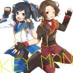 2boys asymmetrical_sleeves black_gloves black_hair blue_eyes boots brown_hair choker fingerless_gloves gloves izumi-no-kami_kanesada jumping kashuu_kiyomitsu male_focus multiple_boys musical_touken_ranbu pants pointing pointing_at_self ponytail red_pants side_ponytail simple_background touken_ranbu white_background