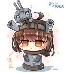 1girl @_@ alternate_costume asimo953 bangs blush brown_eyes brown_hair cannon chibi chou-10cm-hou-chan commentary_request eyebrows_visible_through_hair hair_between_eyes hair_flaps hairband hatsuzuki_(kantai_collection) headband highres kantai_collection looking_at_viewer open_mouth short_hair simple_background solo translation_request turret