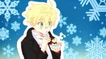 1boy aki_usagi arthur_pendragon_(fate) black_coat blonde_hair blowing blue_background bowl emiya-san_chi_no_kyou_no_gohan fate/prototype fate_(series) food green_eyes highres male_focus oden parody scarf snowflake_background solo white_scarf