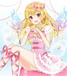 1girl aikatsu! aikatsu!_(series) bangs bare_arms blonde_hair blush bow collar detached_collar dress earrings eyebrows_visible_through_hair feet_out_of_frame flower frilled_dress frills hair_ornament hair_ribbon heart heart_hair_ornament heart_hands hoshimiya_ichigo jewelry layered_dress leg_ribbon long_hair open_mouth pink pink_bow pink_dress pink_flower pink_frills pink_ribbon pleated_dress red_eyes ribbon shiny shiny_hair sitting sleeveless sleeveless_dress solo sparkle tareme white_collar wings yuricyan