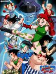 android_18 balrog belt beret bison black_hair blonde_hair blue_eyes blue_hair boots boxing_gloves bracelet braid breasts buruma cammy_white capcom chun-li claw_(weapon) clenched_hand crossover dog_tags double_bun dougi dragon_ball dragon_ball_(classic) edmond_honda fei_long gloves guile hat headband highres ise_(isejp1) jewelry karate_gi ken_masters kicking kuririn leotard m_bison marron mask military muscle open_mouth open_palm pantyhose parody piccolo puar ribbon ryuu_(street_fighter) scar smile smirk son_gohan son_gokuu street_fighter sumo tank_top thighs twin_braids vambraces vega weapon yajirobe yamcha