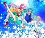 1boy 1girl arm_up blonde_hair blue_background blue_hair bow brother_and_sister dezu dress hairband interlocked_fingers kirahoshi_ciel kirakira_precure_a_la_mode kuroki_rio leg_up long_hair outline pants pikario_(precure) precure puffy_short_sleeves puffy_sleeves red_bow short_sleeves siblings sitting star twins white_outline white_pants