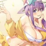 1girl backwards_hat bandeau bangs baseball_cap bb_(fate)_(all) bb_(swimsuit_mooncancer)_(fate) blush braid breasts cropped_jacket eyebrows_visible_through_hair fate/extra fate/extra_ccc fate/grand_order fate_(series) hair_between_eyes hat jacket large_breasts long_hair long_sleeves looking_at_viewer navel pleated_skirt purple_hair rei_(pixiv_187780) single_braid skirt smile solo star star_hat_ornament stomach thighs v very_long_hair violet_eyes white_bikini_top white_hat yellow_jacket