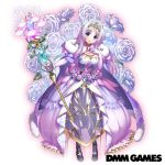 1girl blue_eyes braid breasts cape copyright_name dmm floral_background flower flower_knight_girl full_body gem hand_on_own_chest large_breasts lavender_hair long_hair looking_at_viewer novalis_(flower_knight_girl) official_art purple_cape purple_flower purple_rose rose staff standing tagme tiara tongue tongue_out white_background