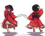 1girl anklet arm_up barefoot black_hat black_sash bowl bowl_hat from_behind full_body hand_on_headwear hat holding holding_needle japanese_clothes jewelry kimono long_sleeves looking_at_viewer multiple_views needle needle_sword nga_(artist) obi parted_lips petticoat purple_hair red_kimono sash shadow short_hair simple_background sukuna_shinmyoumaru touhou violet_eyes white_background wide_sleeves