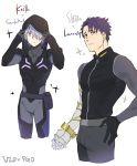 2boys absurdres amputee bodysuit character_name closed_mouth cosplay fate/grand_order fate_(series) father_and_son galahad_(fate) grand_dobu highres hood keith_(voltron) keith_(voltron)_(cosplay) lancelot_(fate/grand_order) lavender_hair multiple_boys prosthesis prosthetic_arm purple_hair simple_background sparkle takashi_shirogane takashi_shirogane_(cosplay) voltron:_legendary_defender white_background yellow_eyes