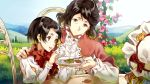 2girls anne_magnolia bangs black_hair blue_sky brown_eyes chair cheese_kang closed_mouth commentary_request dress flower frills highres hill holding holding_plate horizon leaf long_sleeves multiple_girls open_mouth outdoors plate red_dress shirt sitting sky table violet_evergarden white_shirt