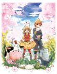 1boy 1girl animal animal_hug animal_on_head bird boots bottle brown_hair cat cherry_blossoms chick chicken clouds cow cross-laced_footwear dog dress fang farm flower happy harvest_moon harvest_moon:_the_tale_of_two_towns head_scarf highres holding knee_boots lace-up_boots lillian_(harvest_moon) looking_at_viewer milk_bottle mouth_hold on_head open_mouth pantyhose philip_(harvest_moon) plaid plaid_dress puffy_short_sleeves puffy_sleeves red_legwear rooster short_hair short_sleeves shorts skirt_hold sky smile tree vest