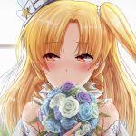 1girl azur_lane blonde_hair blush bouquet bridal_veil cleveland_(azur_lane) dress eyebrows_visible_through_hair flower hat long_hair red_eyes ribbon side_ponytail smile solo star takeyaman veil wedding_dress