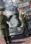 1boy 1girl animal_ears blonde_hair boots car cigarette commentary_request dutch_angle faceless faceless_male gloves graffiti green_eyes grey_hair ground_vehicle hat highres karo-chan lighter long_hair military military_hat military_uniform motor_vehicle original outdoors pantyhose road_sign sign smoke smoking snowing uniform very_long_hair