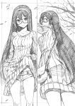 1girl absurdres alternate_costume anchor ass bag clothes_lift cowboy_shot dress dress_lift glasses greyscale hairband handbag highres kantai_collection kojima_takeshi long_hair looking_at_viewer looking_back monochrome multiple_views ooyodo_(kantai_collection) ribbed_sweater semi-rimless_eyewear short_shorts shorts standing sweater sweater_dress sweater_lift tree under-rim_eyewear