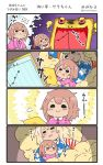2girls 4koma =3 =_= american_flag american_flag_print blonde_hair blush brown_hair buttons closed_eyes comic commentary_request flag_print flying_sweatdrops hair_between_eyes hat highres holding iowa_(kantai_collection) kantai_collection long_hair long_sleeves megahiyo multiple_girls nightcap open_mouth pajamas pom_pom_(clothes) saratoga_(kantai_collection) smile star star_print tablet translation_request twitter_username