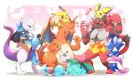 azuma_minatsu black_hair blue_eyes brown_hair carrying charizard claws closed_eyes creatures_(company) fire full_body furry game_freak gen_1_pokemon gen_2_pokemon gen_3_pokemon gen_4_pokemon gen_5_pokemon gen_6_pokemon gen_7_pokemon greninja heart incineroar ivysaur jigglypuff legendary_pokemon lucario mewtwo multiple_boys ninja nintendo no_humans open_mouth pichu pikachu poke_ball pokemon pokemon_(creature) pokemon_(game) pokemon_bw pokemon_dppt pokemon_rgby pokemon_sm pokemon_xy red_eyes scarf shell smile squirtle super_smash_bros. super_smash_bros._ultimate tail teeth tongue tongue_out wings yellow_sclera
