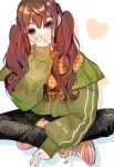 1girl bangs black_pants brown_hair eyebrows_visible_through_hair green_jacket hair_between_eyes hand_to_own_mouth heart highres indian_style jacket komachi_(pixiv) long_hair off_shoulder original pants parted_lips shadow shoes sitting smile solo spade_(shape) teeth twintails violet_eyes white_background