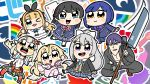 1boy 6+girls :d bkub black_hair blazer blonde_hair blue_hair blush bow bowtie chibi company_name elu_(nijisanji) eyebrows_visible_through_hair fairy_wings grey_hair hair_between_eyes hair_bow headphones headphones_around_neck high_ponytail highres higuchi_kaede holding holding_weapon jacket kneehighs long_hair looking_at_viewer mole mole_under_eye mononobe_alice multiple_girls nijisanji no_hands one_eye_closed open_mouth outline outstretched_arms pajamas plaid plaid_skirt pleated_skirt ponytail purple_hair red_legwear school_uniform shizuka_rin shoes short_hair side_ponytail skirt smile socks spread_arms squatting tsukino_mito very_long_hair weapon white_outline wings