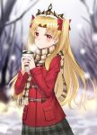 1girl bangs bare_tree blonde_hair blurry blurry_background blush bow breasts breath brown_scarf closed_mouth coat cowboy_shot cup day depth_of_field disposable_cup duffel_coat ereshkigal_(fate/grand_order) fate/grand_order fate_(series) forehead fringe_trim grey_skirt hair_bow highres holding holding_cup long_hair long_sleeves luobo_(nsnr8754) outdoors parted_bangs plaid plaid_scarf plaid_skirt pleated_skirt red_bow red_coat red_eyes scarf skirt snow snow_on_head snowing solo tears tiara tree two-handed two_side_up winter