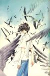 1boy arms_at_sides bird bird_wings clamp denim flock grey_eyes hair_blowing highres jeans light_particles looking_back loose_clothes loose_shirt male_focus official_art pants parted_lips seagull shirou_kamui shirt short_hair short_sleeves solo surrounded thick_eyebrows traditional_media white_shirt wind wings x_(manga)
