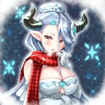 1girl blue_hair blush breasts breath draph gloves granblue_fantasy hat horns izmir large_breasts long_hair mole mole_under_mouth nyama_(12060517) pointy_ears red_eyes scarf snowflakes white_gloves
